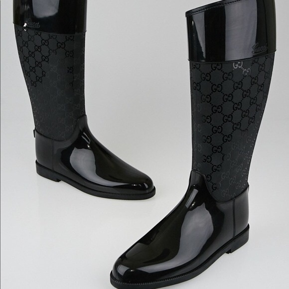 2f13399f2 Gucci Shoes | Gg Rubber Monogram Black Rain Boots 39 | Poshmark